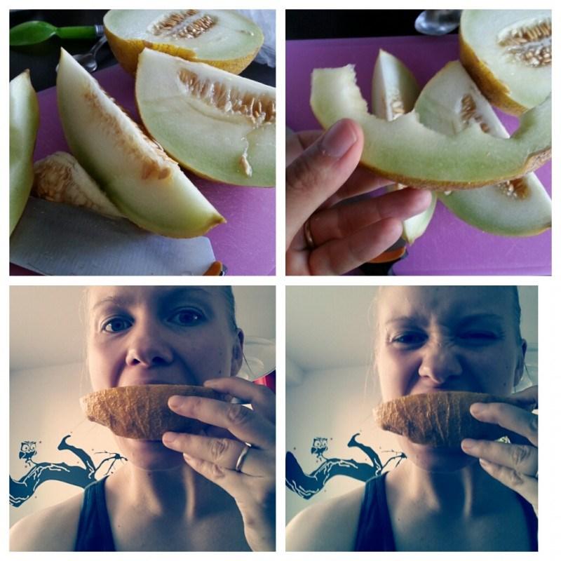 Melonin maistelua :D Jotain Kalja-melonia kuulemma..