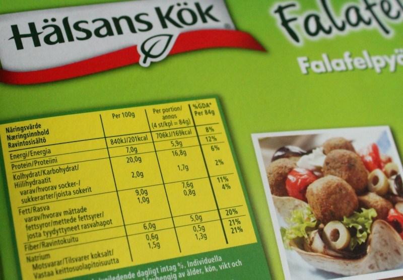 Falafelien ravintoarvot.