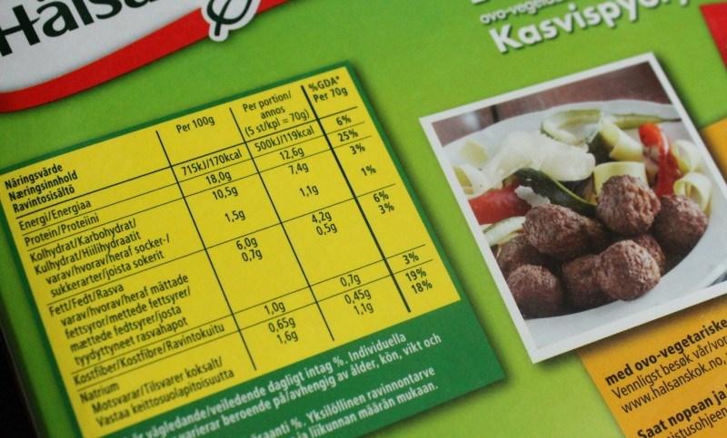 Kasvispullien ravintosisältö.