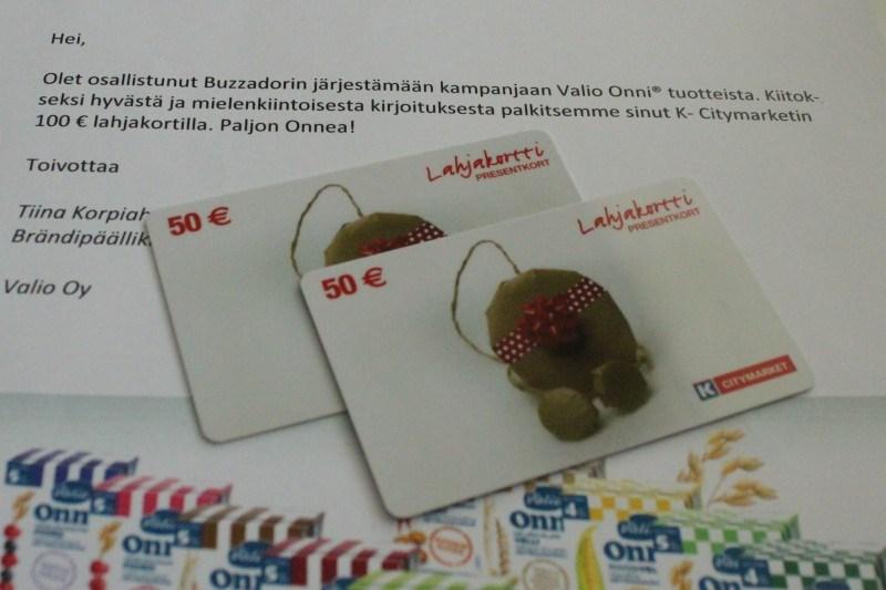 Voitin Valion Onni-kilpailusta postauksellani 100e lahjakortin :) Kannattaa olla buzzador!
