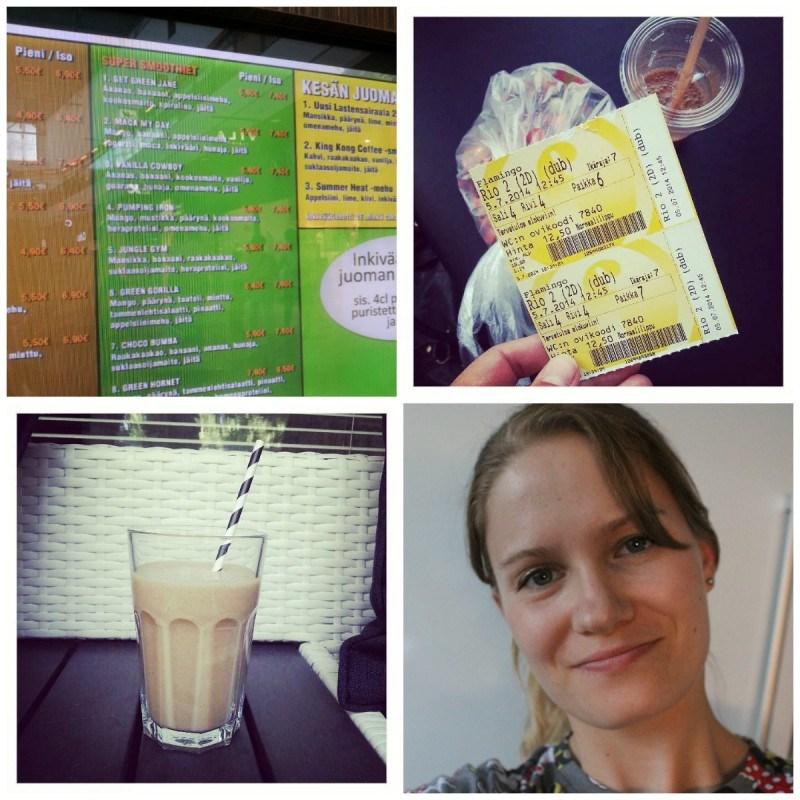 Kuvasin Jungle juice barin smoothielistan niin voin tehdä samanlaisia herkkuja kotonakin // Leffa, smoothie ja iso irtaripussi // Tänä aamuna herkullinen suklaa-banaanismoothie // #selfie torstailta