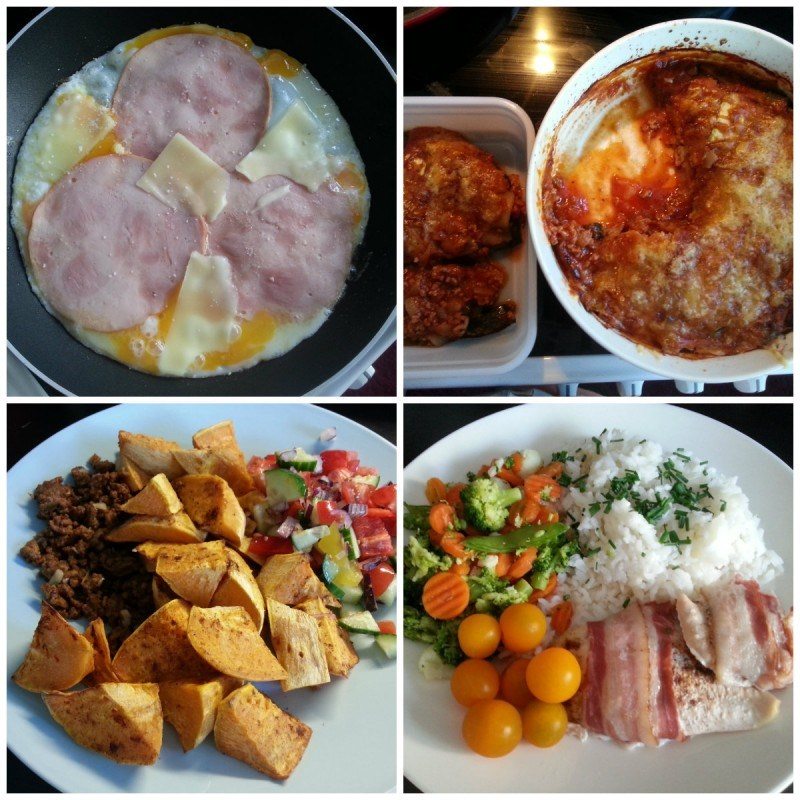 Munakasta kinkulla ja juustolla // Kesäkurpitsalasagnea // uunibataattia, mausteista jauhelihaa ja vihanneksia // pekoniin käärittyä broiskua, riisiä, ruohosipulia, tomaattia ja pakastevihanneksia.