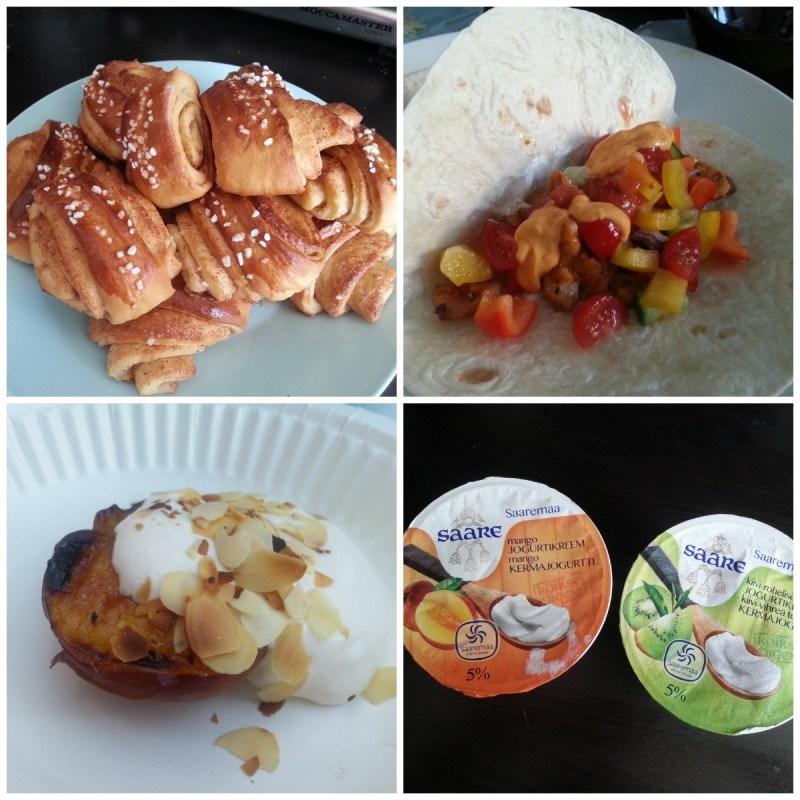 Itse tehtyjä korvapuusteja // tortilloja (ihan parhaita!) // mökillä grillattuja persikoita ja nektariineja kera vaniljakerman // Saaremaa kermarahkoja löysin Prismasta
