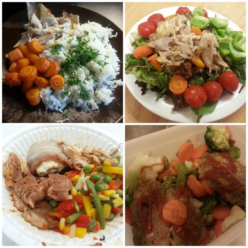 Broileria (koivesta), paahdettuja porkkanoita, riisiä ja ruohosipulia // Broiskua (koipea) ja kasa erilaisia vihanneksia töissä // mökillä grillattuja pekoni-herkkusieniä, kassleria ja keitettyjä vihanneksia // töissä itsetehtyjä jauhelihapihvejä ja vihannessekoitusta (pakaste)