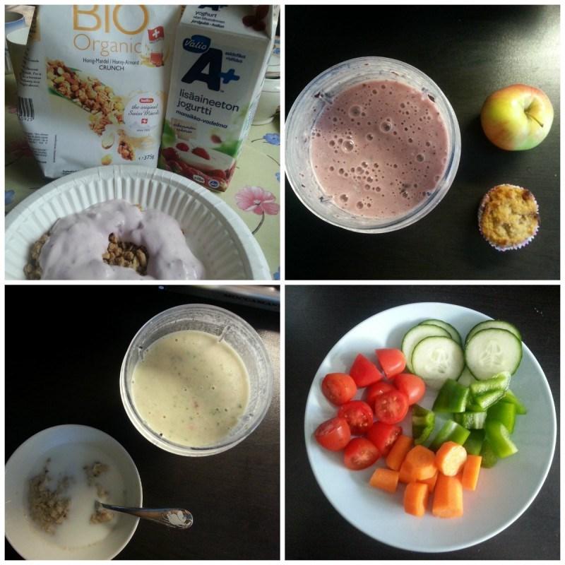 Mökillä luomumysliä ja jogurttia // Smoothie, omena ja kaneliomenamuffinssi // hedelmäsmoothie ja puuroa maidolla // vihanneslautanen