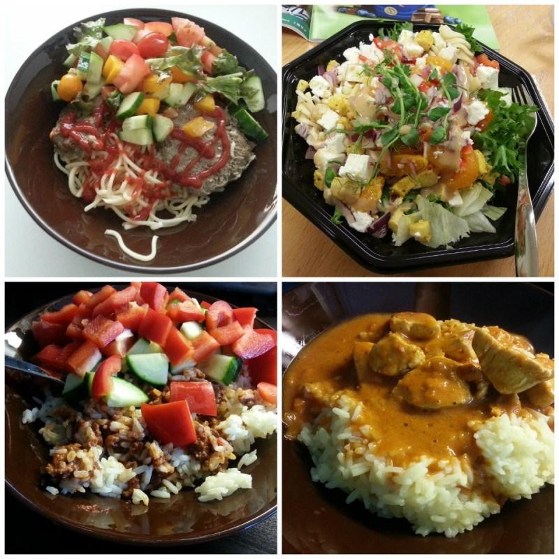 Treenin jälkeen itsetehtyjä jauhelihapihvejä, täysjyvä spagettia sekä tuoreita vihanneksia // lounaalla Kulman kana-fetasalaatti // riisiä ja mausteista jauhelihaa kera vihannesten // miehen tekemään intialaista kanakastiketta kera riisin