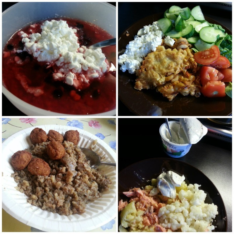 Puuroa raejuustolla, lesitiinillä, marjoilla ja mehukeitolla // tonnikala-makaronilaatikkoa, fetajuustoa ja vihanneksia // mökillä maksalaatikkoa ja lihapullia (valmis) // perunaa, kohta, kukkakaalia ja creme bonjouria