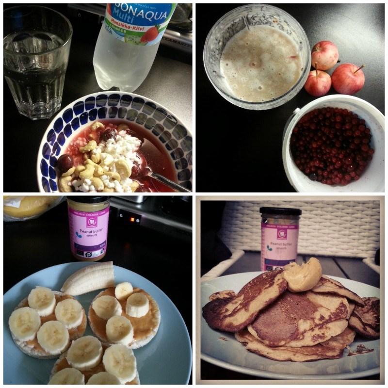 Rahkaa, pähkinöitä, marjoja, mehukeittoa ja vichyä // smoothie marjoista, omenoista ja protskujauheesta aamupalaksi // riisikakkuja maapähkinävoilla ja banaanilla // banskulettuja maapähkinävoilla <3