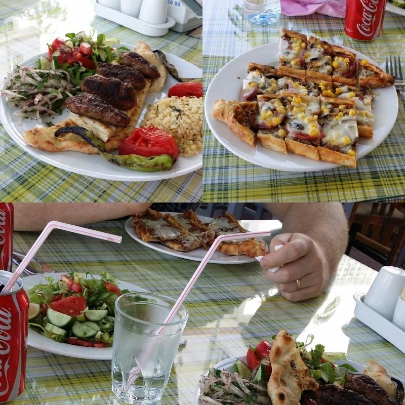 Kunnon turkkilaista safkaa! Ton leipähässäkän nimi oli muistaakseni pide ja omani otin turkkilaisena spesiaalina :)