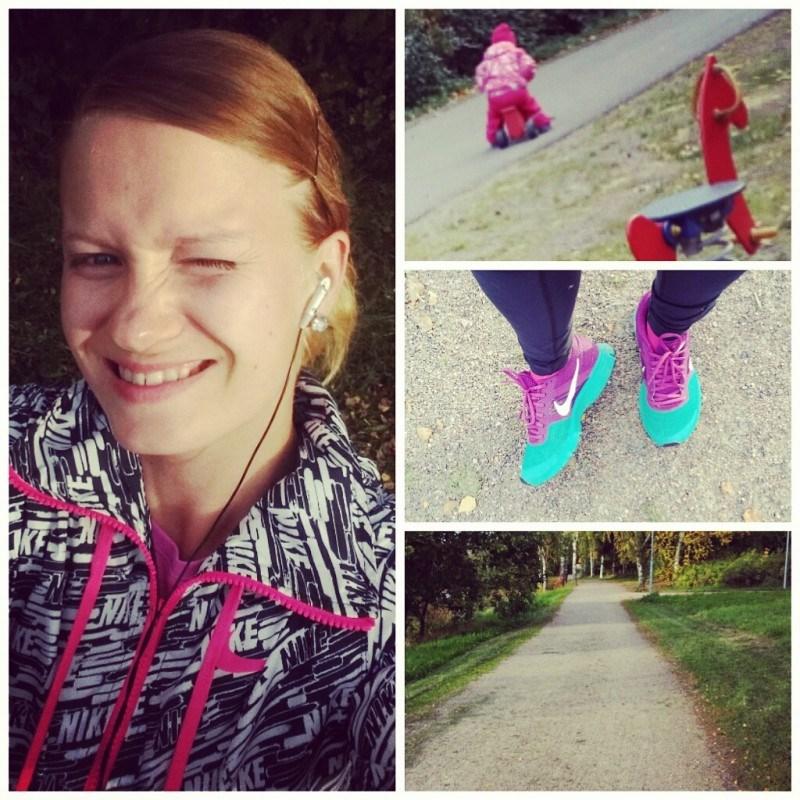 Maanantain hölköttelin 5km lenkin ja sen jälkeen oltiin vielä tytön kanssa ulkona pitkä tovi!