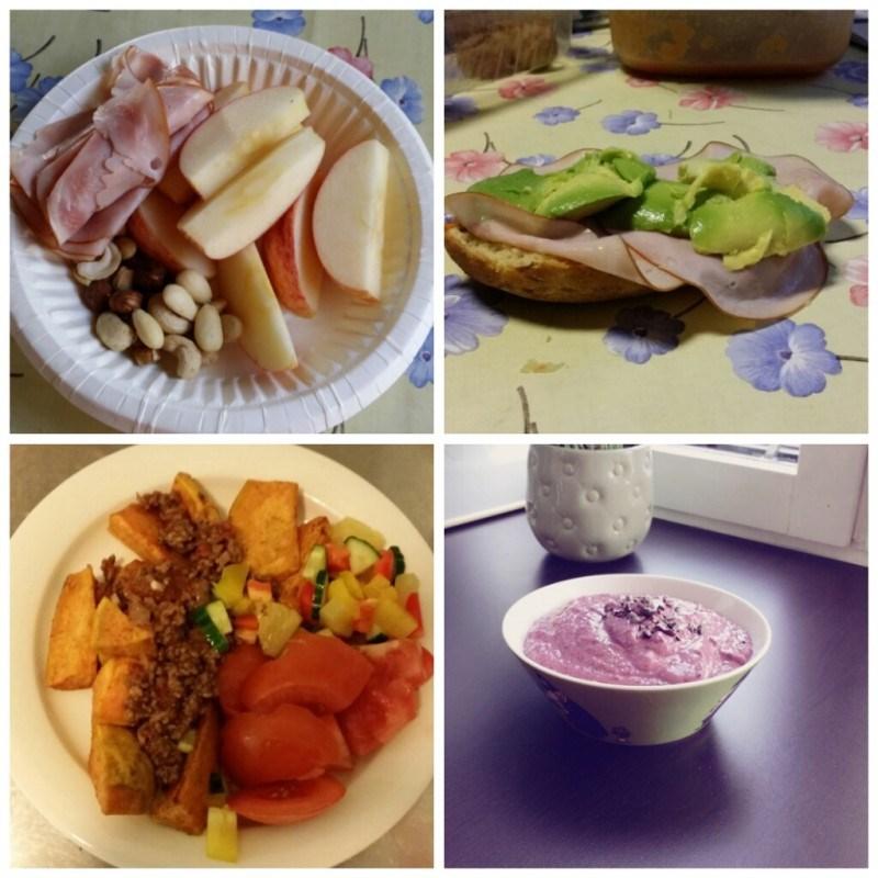 Mökillä välipalaa // Gluteenitonta sämpylää kinkulla ja avocadolla // duunissa bataattia ja jauhelijaa // välipalaksi tuorepuuroa