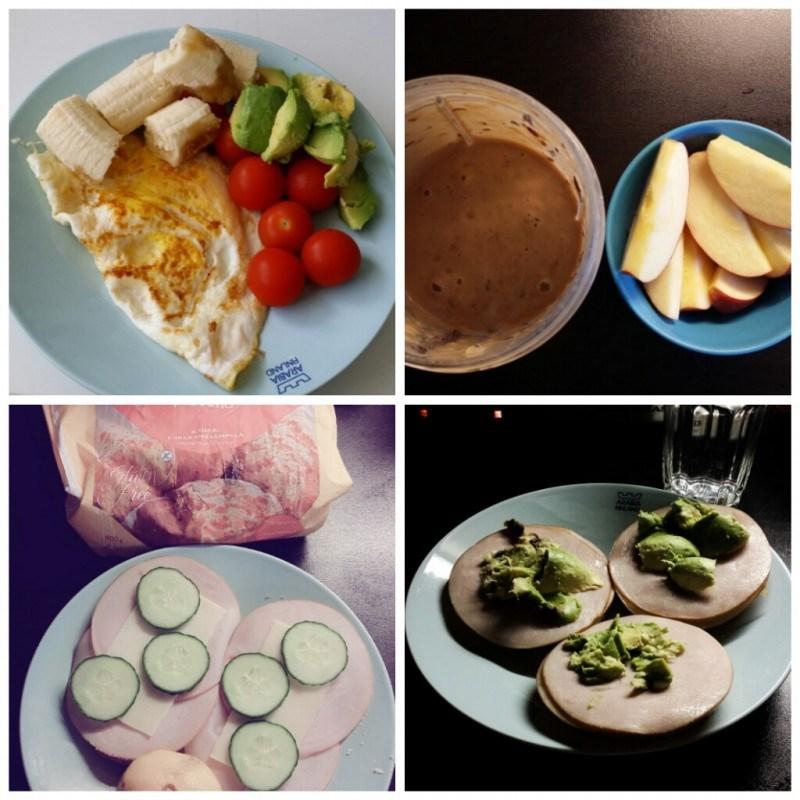 Aamupalaksi munakasta, banskua ja vihanneksia // välipalana smoothie ja yllättäen omenaa // aamupalaleipäset // riisikakkuja kinkulla ja avocadolla <3