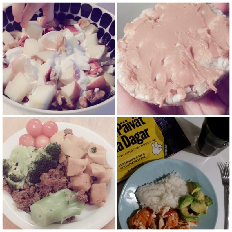 Välipalana turkkilaista juggaa, omenaa ja pähkinöitä // riisikakkua kera maapähkinävoin // bataattia, jauhelihaa ja vihanneksia // miehen tekemää tulista kanaa ja riisiä