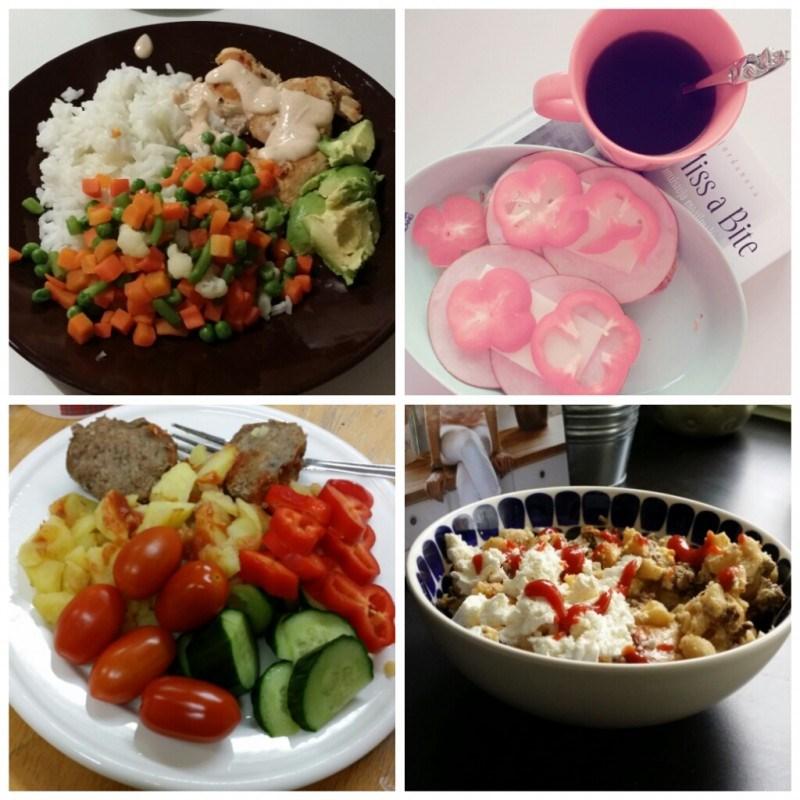 Kanaa, riisiä ja pakastevihanneksia // aamupalaleipäset // perunaa, lihapullia ja vihanneksia // makaronilaatikkoa <3