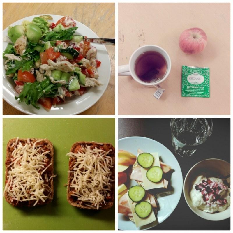 Runsas kanasalaatti töissä // teetä ja omppua // lämpimiä voileipiä iltapalaksi // aamupalaa ennen aamutreeniä: gluteenittomia sämpylöitä, mandariinia ja turkkilaista juggaa kera mustikoiden