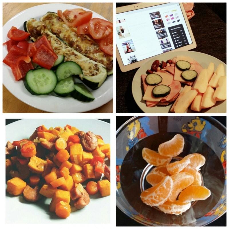 Täytettyjä kesäkurpitsoita // aamupalana leipäset höysteillä ja omppua // bataattia ja makkaraa // hedelmiä välipalana