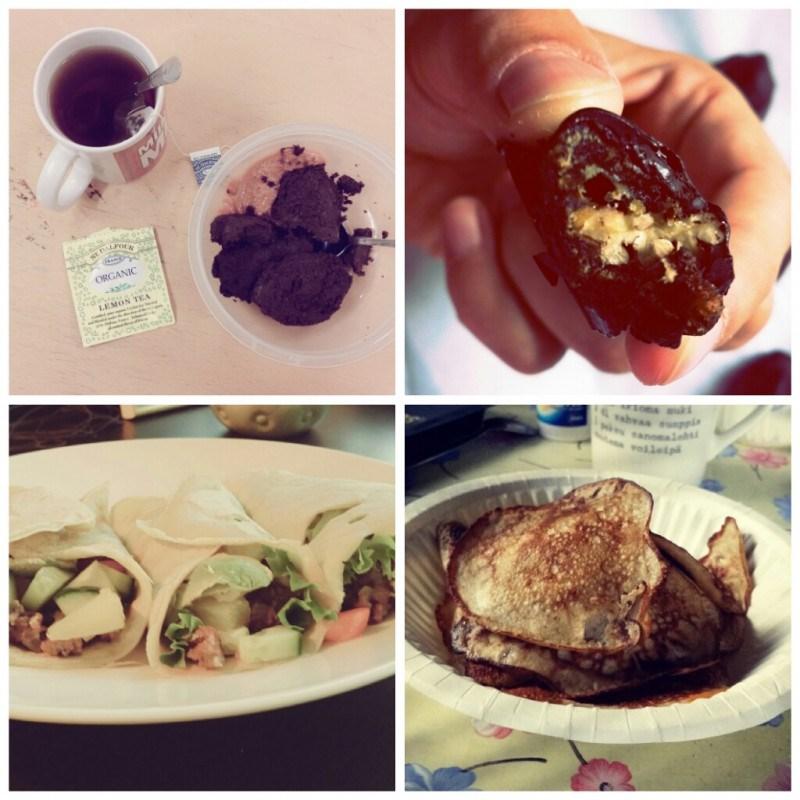 Töissä teetä ja banaani-suklaabrownieta // suklaapäällysteisiä taateleita // viljattomia tortilloja //banskulettuja mökillä