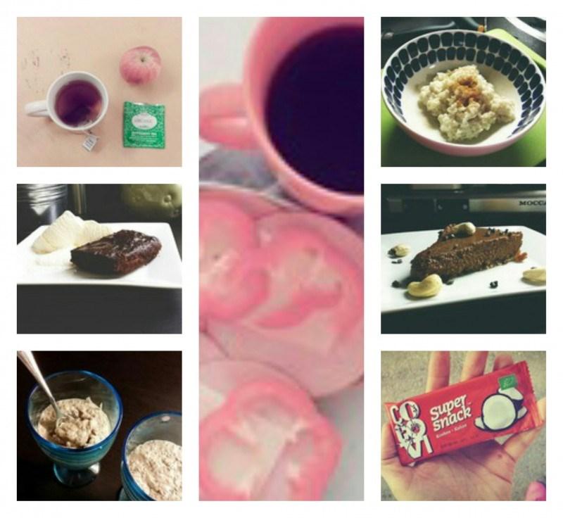 Kahvin tilalla teetä, banaani-suklaabrownieta, Banaani-chiavanukasta,  välipalaa kera teen, riisipuuroa mantelimaitoon, Balilaista suklaaraakakakkua ja raakasnackia välipalaksi.