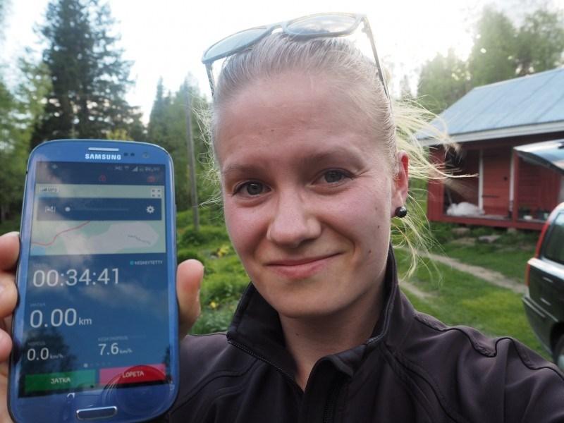 Hienosti kerkes kilometrimäärä just nollautua trackerista, mut 4,7 km se tais olla.