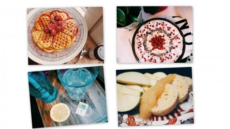 Kookosvohvelit // Puolukkainen smoothiebowl // sitruunalimu // Viljaton sämpylä mikrossa.